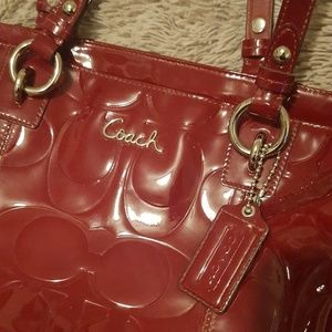 Beautiful red patent leather COACH tote!